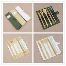 Bambus geschenkset online-7 teile / satz Tragbare Reise Besteck Bambus Besteck Set Stäbchen Gabel Löffel Stroh Outdoor Geschirr Set Nützliche Party Hochzeitsgast Geschenke
