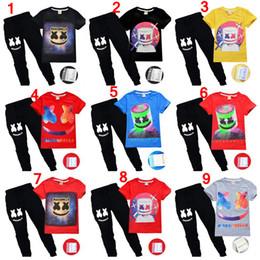 2019 dj top music 6-14T Summer boys ropa casual conjunto Marshmellow DJ Music Print marshmello dj camiseta 2 unids chicos chicas tops camiseta con pantalones boy trajes dj top music baratos