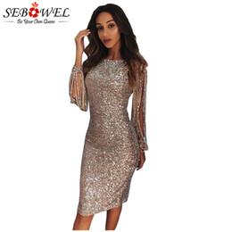 С длинным рукавом онлайн-Оптовая Sexy Sequin Dress женщины Bodycon серебряный блеск Party Dress с длинным рукавом блесток клуб Dress золотой блеск блестящие вечернее платье