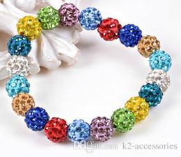 Pulseras de bolas brillantes online-Mas barato !! ¡Las bolas cristalinas rebordean las pulseras del encanto de la joyería del brazalete de la joyería de las pulseras del estiramiento de la bola del Rhinestone!