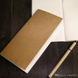 Mano notepad online-Kraft Taccuino Carta a mano Copia Copertina Notepads Blank Stitch Notepad Kraft Cover Notebooks Giornale Paper Journal Stationery Free DHL