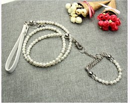 Coleira de cachorro branco on-line-Pure Leash Collar White Pearl Pet Set Dog Leash Collar Pet Shop para cães pequenos WB1043