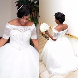 vestido de flores de talla grande azul nude Rebajas Vestidos de boda con mangas cortas con cordones, cuello redondo, con cuello de barco y cristales con cuentas, de talla grande africana