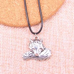 caudas de lobo preto Desconto New Durable Preto Faux Leather Antique Silver 24 * 28mm cauda de lobo raposa Pingente de Couro Cadeia Colar de Jóias Vintage Dropshipping