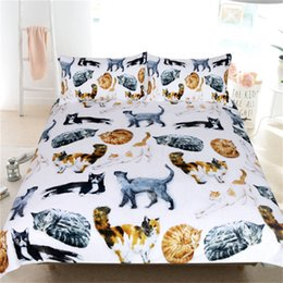 Set di animali da letto per bambini online-Carino Gatti Bedding Set singolo regina del fumetto letto Set for Kids Acquerello Pet Stampa copripiumino Animal Home Textiles