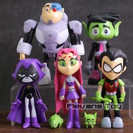 светодиодные фонарики карманного размера Скидка Teen Titans Go Robin Cyborg Beast Boy Starfire Raven Silkie ПВХ фигурки детские игрушки подарки 7 шт./компл. C19041501