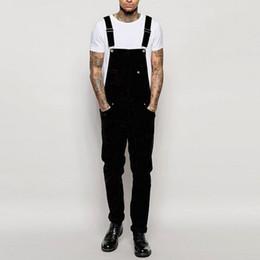 Beige hosenträger online-Hip Hop Harem Jogger Hose Herren Jeans Overall waschen Streetwear Hosentasche Hosenträger Hose Pantalones Hombre # 50