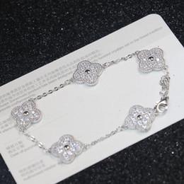 2019 pulseiras luxuosas Nova chegada S925 Sterling silver mulheres de luxo pulseira com cinco estilo de flor e diamante e selo logotipo charme jóias chrismas presente PS62 pulseiras luxuosas barato