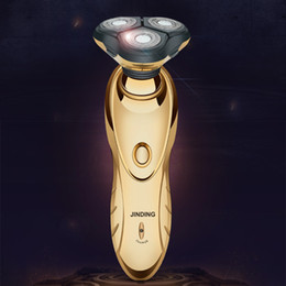 2020 guarnição de ouro de placa Banhado a ouro barbeador elétrico de flutuação 3D Barbear Máquina recarregável Beard Trimmer Waterproof Men Multifuncional Ecectric Navalha guarnição de ouro de placa barato