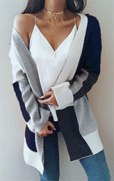 cardigan aperto di kimono Sconti Womens Long Cardigan maglioni oversize a righe anteriore aperto allentato Colorblock Knit Autunno Kimono Duster Cappotti