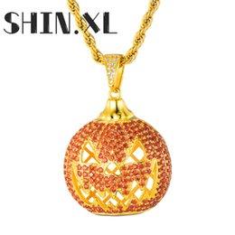 Pingente de abóbora de ouro on-line-Colar Lanterna Hip Hop para fora congelado abóbora pingente banhado a ouro com corda Cadeia Mens Bling Jewelry presente