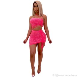 64d39603650 New women's fashion two-piece set sexy hot drilling sleeveless short suit halter  hot girl club two piece dress DAN-14