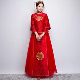 Costume de soie rouge en Ligne-Nouveau style chinois vintage mariée robe costume Tang costume chinois ancien style ethnique traditionnel vêtements ethniques marié rouge cheongsam