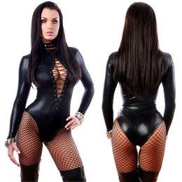 Lunghi abiti in pelle faux online-Pelle Donna gotica Faux Body punk manica lunga Catsuit Erotic Lace Up High Cut Body Fetish vestito dalla biancheria Fancy