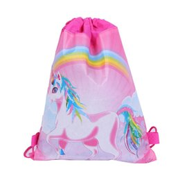 Double mochila sided on-line-5 Estilos Unicorn Drawstring Backpack Meninas bonitas Princesa do tema dos miúdos partido Backpack doces Sacos escola mochila dupla face bolso AN3057