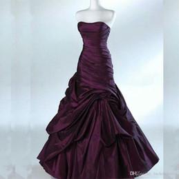 Nupcial retro Strapless Ruched tafetá vestido de casamento longo Vintage Dresses Personalizado vestido de noiva de