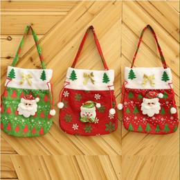 Sacs à main en tissu en Ligne-1PCS main de Noël Sac créatif Salut cadeau Appliqué sac fourre-tout de sucrerie de Noël en tissu rouge vert fourre-tout cadeau