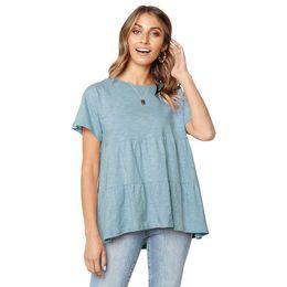 Сплошной цвет с коротким рукавом футболки топы женщины свободные рюшами топы майки лето женская одежда прямая поставка 220116 от
