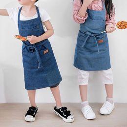 2019 jeans coreani dei capretti Grembiuli da cucina per bambini Cottura in cotone Grembiuli di jeans per donna Versione coreana del grembiule da cuoco Grembiuli da cucina jeans coreani dei capretti economici