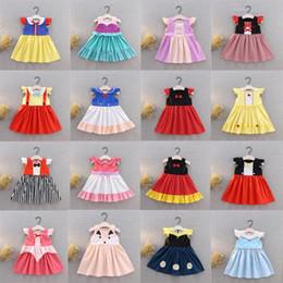 Costumi cosplay bambina online-38 Styles Little Girls Princess Abiti Estate Bambini Bambini Vestiti del cotone del fumetto del bambino Bow Costume da partito a strisce Cosplay DHL WX9-1478