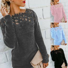 2019 suéter macio pulôver 10 Cor S-5XL Womens Outono-Inverno Quente Fluffy camisola Tops Ladies Lace Jumper Pullover Blusa 58279382065727 suéter macio pulôver barato