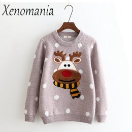 c527972b06 Sweater With Deer Ugly Christmas Sweater Women Sweaters And Pullovers 2017  Korean Winter Warm Jumper Pull Femme Pullover Knitted