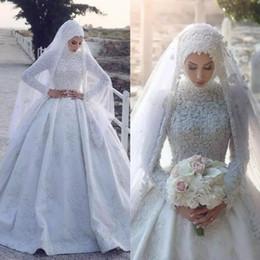 2019 abiti da sposa maniche musulmane 2019 arabo musulmano raso abiti da sposa collo alto pizzo appliqued maniche lunghe abiti da sposa abito di sfera abiti da sposa su misura abiti da sposa maniche musulmane economici