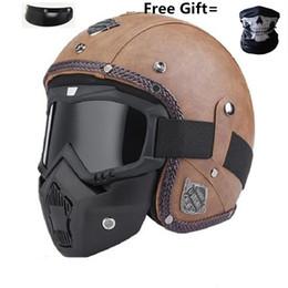 Capacetes de ponto de rosto aberto on-line-Profissional Retro Capacete Da Motocicleta Máscara de Óculos de proteção Vintave máscara aberta capacete cruzado disponível DOT aprovado