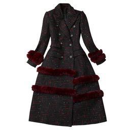 Mulheres de cabelo de mama on-line-Mulheres outono inverno tweed longo casaco xadrez patchwork cabelo coelho entalhado colarinho double breasted elegante outerwear 2018