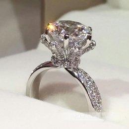 2019 pietre aaaaa cz Anello Choucong Fashion Genuine 3ct Stone Aaaaa Zircon Cz 925 Sterling Silver Donne Fidanzamento Wedding Band Ring Regalo Y19052201 pietre aaaaa cz economici