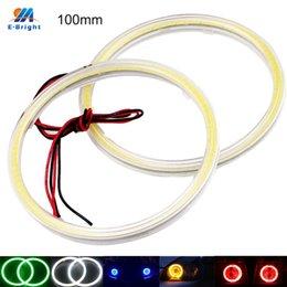 Яркий smd led 12v автомобиль онлайн-YM E-Bright 2 шт. COB LED ангельские глазки 100 мм 72 SMD 10 см 12V Авто Halo Ring Мотоцикл с более чем белый синий красный зеленый желтый