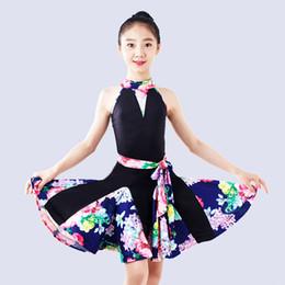 Costume de compétition de danse enfant en Ligne-Costume de Danse Latine Enfants Pratique Vêtements Rumba Dance Wear Concours de Tango Robes Enfants Samba Performance Vêtements DQL1307