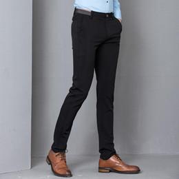 mens calças de escritório Desconto Black Stretch Skinny Vestem Calças Homens Office Party Formal Suit Mens lápis Pant Negócios Slim Fit Calças Casual Masculino