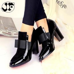 2019 belle scarpe da donna Marca Donna Stivali Tacchi alti Slip-On Patent Leather Shoes Breve Booties Black Ladies Red qualità piacevole primavera di formato di modo 43 sconti belle scarpe da donna