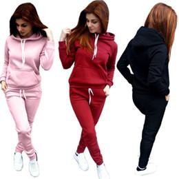 Sudaderas con capucha de color rosa caliente de las mujeres online-Kailye Hot Two Piece Set Hoodies pink outfit women set Casual Mujer Ropa de invierno Fleece Moda Chándal Mujeres Rosa