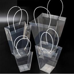 2019 armazenamento de saco de compras de plástico Trapézio Saco de Presente Transparente Bolsa De Armazenamento De Plástico PVC Sacos de Flor Da Loja Sacos de Embalagem Do Partido Do Feriado Flores Bolsas novo GGA2565 armazenamento de saco de compras de plástico barato
