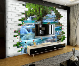 fiber flow Coupons - 3d room wallpaper cloth custom photo Flowing water waterfall 3D landscape painting wallpaper for walls 3 d print fabric wall covering