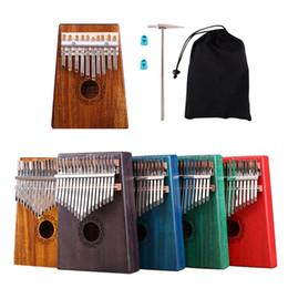 Инструмент для фортепиано онлайн-Kalimba 10 Key 17 Key Kalimba Solid Wood красное дерево палец Thumb фортепиано клавиатура музыкальный инструмент с аксессуарами полный комплект KB26