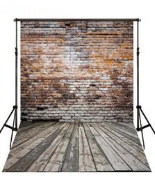Paisagens de fotografia vintage madeira on-line-Cenários de Parede de Tijolo do vintage Piso De Madeira Fotografia Cenário 5X7ft Fundo Da Foto Do Vinil para o Tema Decoração Do Partido
