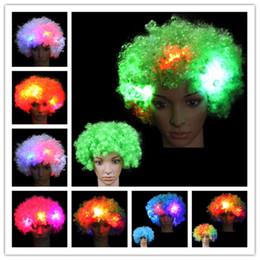 Ventiladores luminosos led online-Flashes LED Explosión de la cabeza Rizado Cosplay Peluca Fans Peluca Payaso Decoración de Halloween Colorido Luminoso Headgear Partido Peluca led Cosplay Pelucas