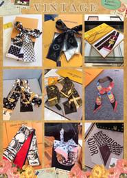 Top qualité luxe soie double couche bandeau imprimé cravate foulard cravate multi-usages marque femme sac ceinture décorative exclusive en gros 7 * 12 ? partir de fabricateur