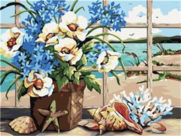 Pittura ad olio sul mare online-16x20 pollici Seaside Window Scenery Blooming Flowers Shells Pittura fai da te con i numeri Kit su tela Pittura a olio acrilica