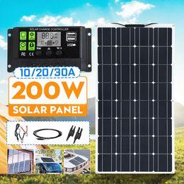 Carregadores de carro solares on-line-Painel Solar 200W carregador de bateria conector MC4 + 10A-30A PWM Barco Car