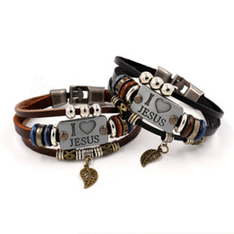 2020 perline di pesci per braccialetti I LOVE JESUS Charm Bracelets bead Vintage Fish Pendant Christian Multilayer Leather Bracelets for Mens Women Bangle Jewelry FFA3485d perline di pesci per braccialetti economici