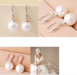 Orecchini di goccia naturale della perla online-Donne di gioielli argento 925 orecchino di perla naturale di goccia ciondolano borchie anelli orecchini del gancio orecchie orecchini Top Quality