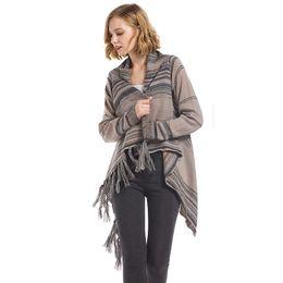 Suéteres de mujer diseños de cuello online-2019 nuevo estilo suéter de mujer otoño invierno damas cardigan borla suéteres chaqueta corta ropa de mujer streetwear ropa de diseño de moda