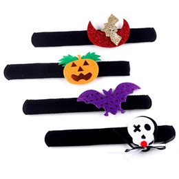 halloween spider rings Promo Codes - Pumpkin Children Halloween Wrist Bat Favors Clap Ring Decoration Slip Slap Bracelet Spider Kids Party For Kids