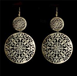 joyas en forma de d Rebajas H: HYDE Maravilloso Color oro hueco forma redonda cuelga los pendientes Joyería de Gota Para Mujeres al por mayor boucle d'oreille femme