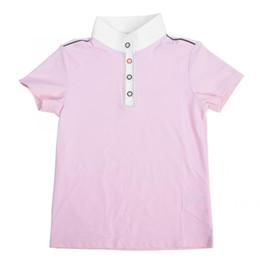 Meninas equestres on-line-Meninas esporte manga curta t-shirt equestre respirável Confortável manga curta leve caminhadas camisas sportswear ao ar livre