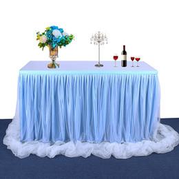mesa de noiva contornando Desconto Tule de mesa feito à mão saia de mesa toalha de mesa para festa de casamento decoração de festa de aniversário / Baby Shower Chiffon gaze véu de noiva